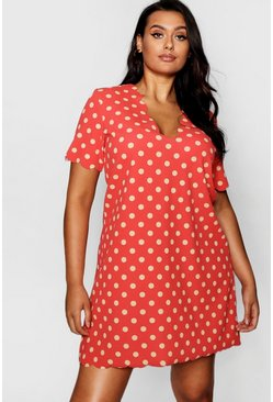 Womens Red Plus Polka Dot Scallop Edge Shift Dress