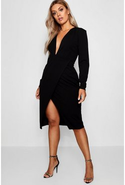Womens Black Plus Plunge Wrap Midi Dress