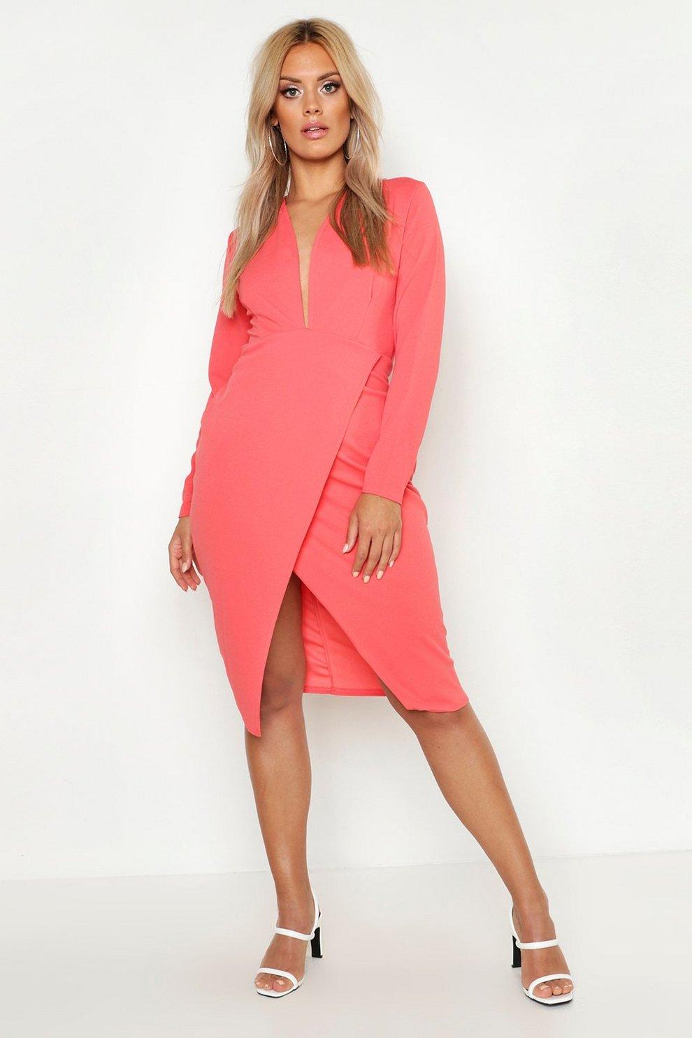 87eb3bb9530e Womens Coral Plus Plunge Wrap Midi Dress