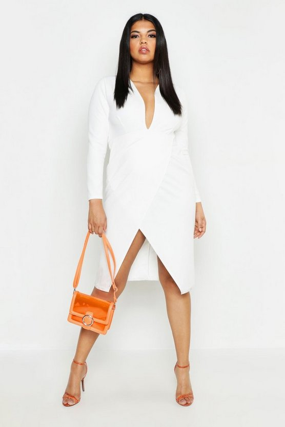 Plus Plunge Wrap Midi Dress