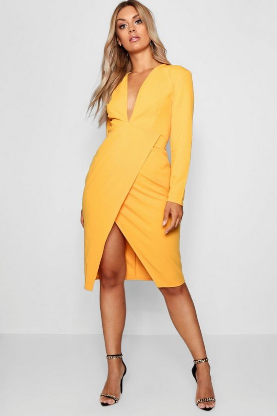 Womens Mustard Plus Plunge Wrap Midi Dress