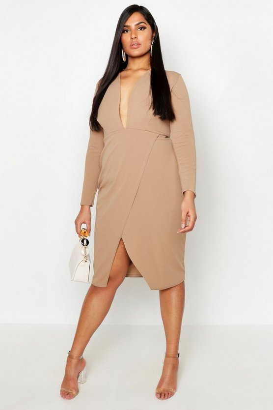 Womens Taupe Plus Plunge Wrap Midi Dress