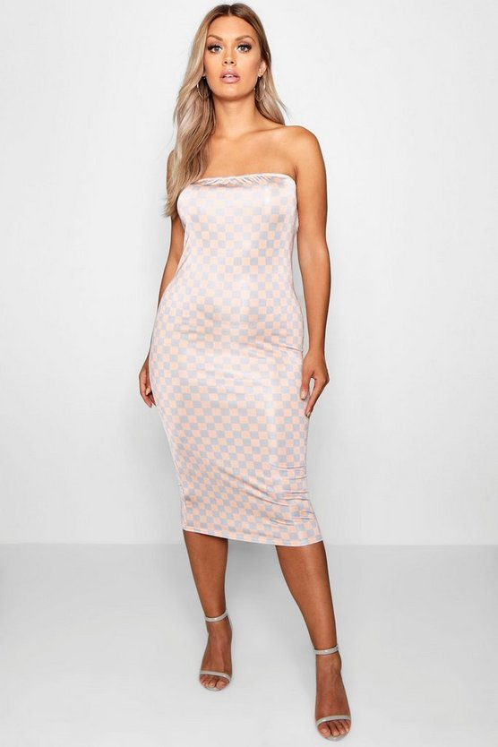 Plus Nude Check Bandeau Midi Dress