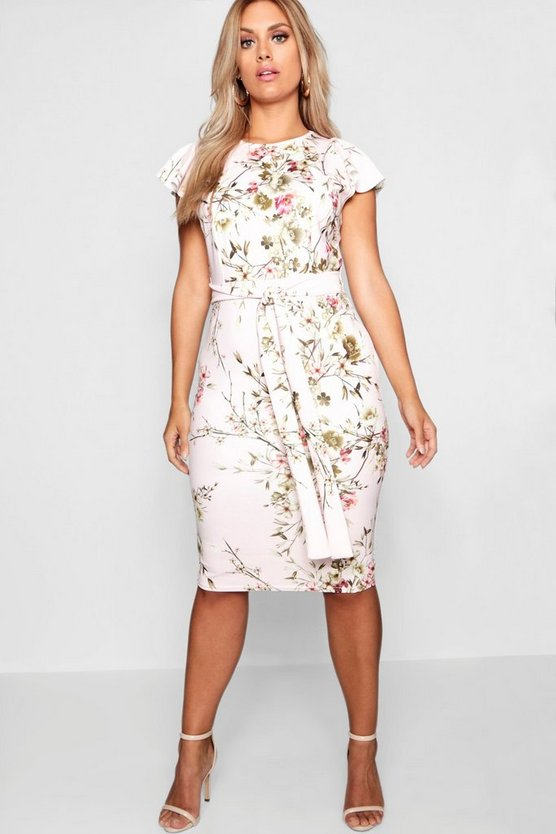 Womens Blush Plus Floral Belted Midi Dress