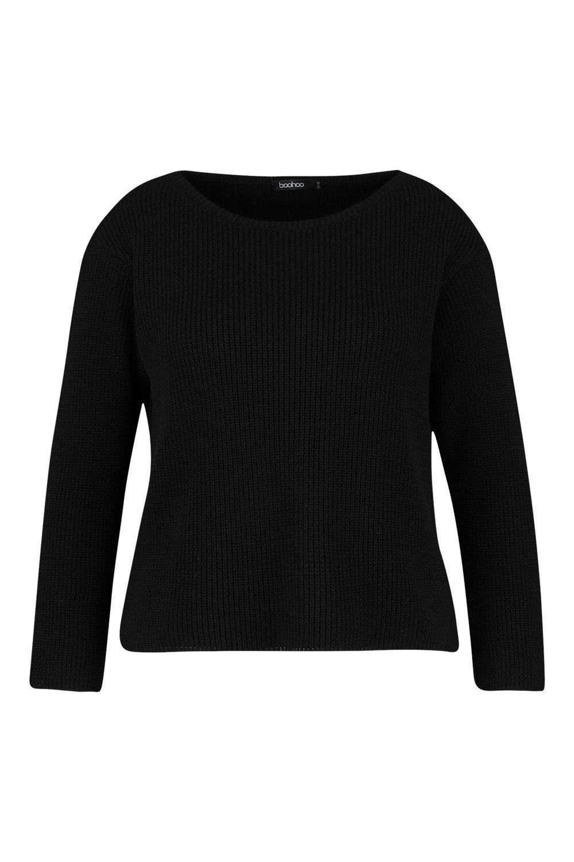 Jersey negro corte Plus cuadrado con de cuello recto Zw60fqnr1Z