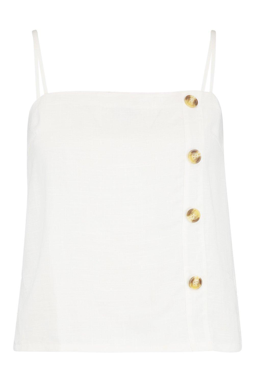 Camisola cuadrado con Plus de lino cuerno de y en blanco cuello botones detalle 6qEI6r