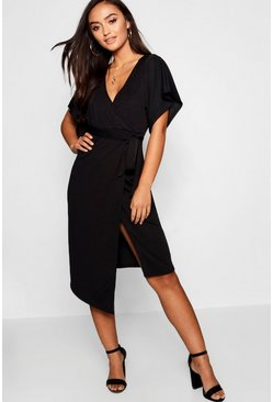 Womens Black Petite Crepe Wrap Midi Dress