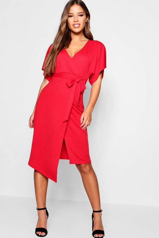 Petite Crepe Wrap Midi Dress