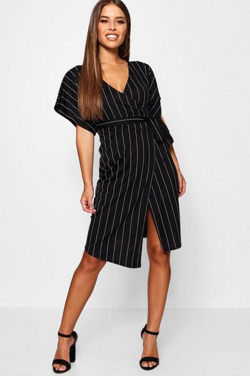 Womens Black Petite Crepe Pin Stripe Wrap Midi Dress
