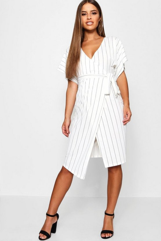 Petite Crepe Pin Stripe Wrap Midi Dress