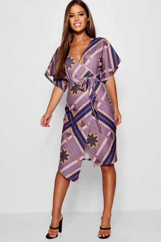 Petite Geo Scarf Print Crepe Wrap Dress