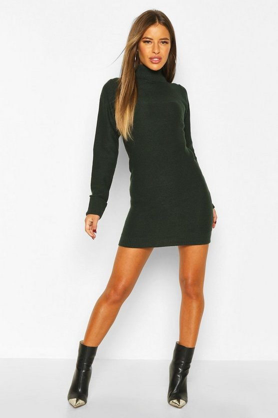 Womens Forest Petite Knitted Roll Neck Sweater Dress