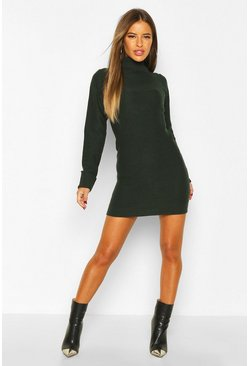 Forest Petite Knitted Roll Neck Jumper Dress