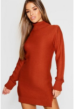 Womens Spice Petite Knitted Roll Neck Jumper Dress