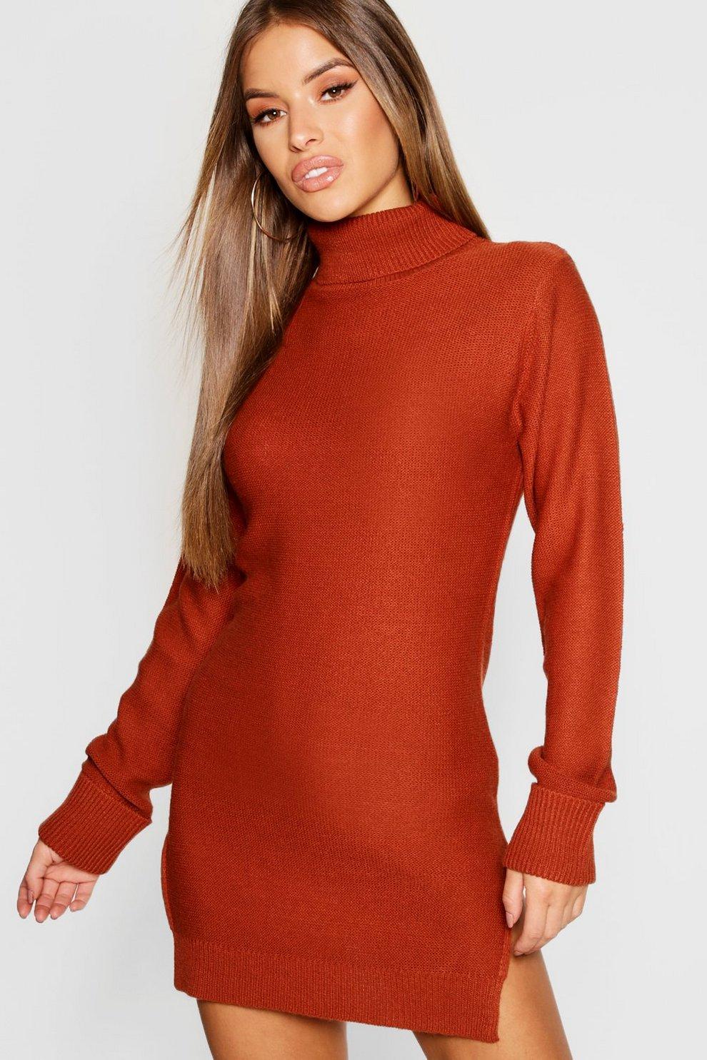 6e634b0858a Petite Knitted Roll Neck Jumper Dress