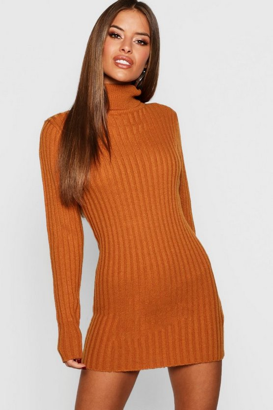 Petite Ribbed Roll Neck Jumper Dress