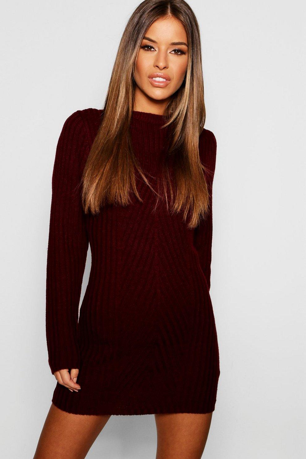 d5850f9f4f5 Petite Ribbed Knitted Jumper Dress