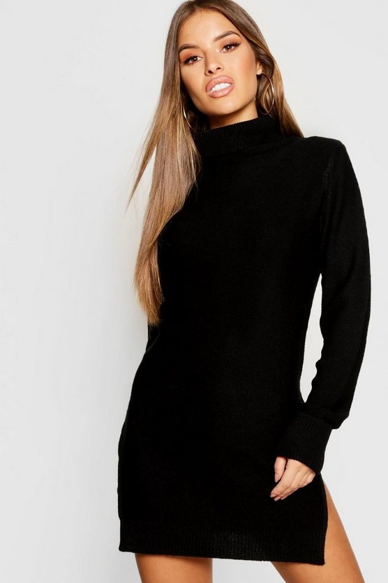 Petite Knitted Roll Neck Jumper Dress