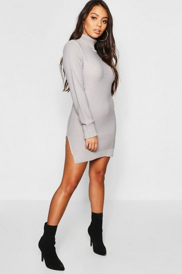 Womens Grey Petite Knitted Roll Neck Jumper Dress