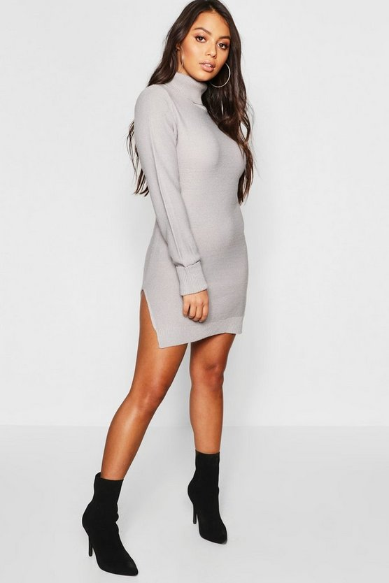Petite Knitted Roll Neck Sweater Dress