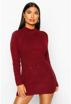 Berry Petite Ribbed Knitted Sweater Dress