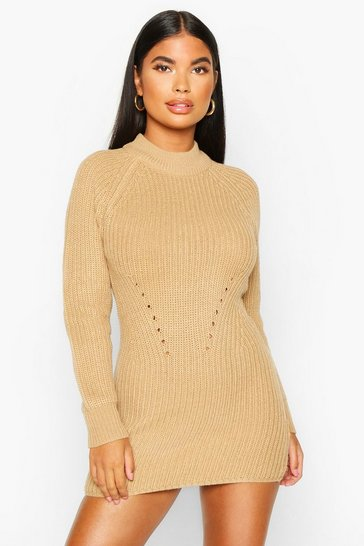 Womens Camel Petite Ribbed Knitted Jumper Dress