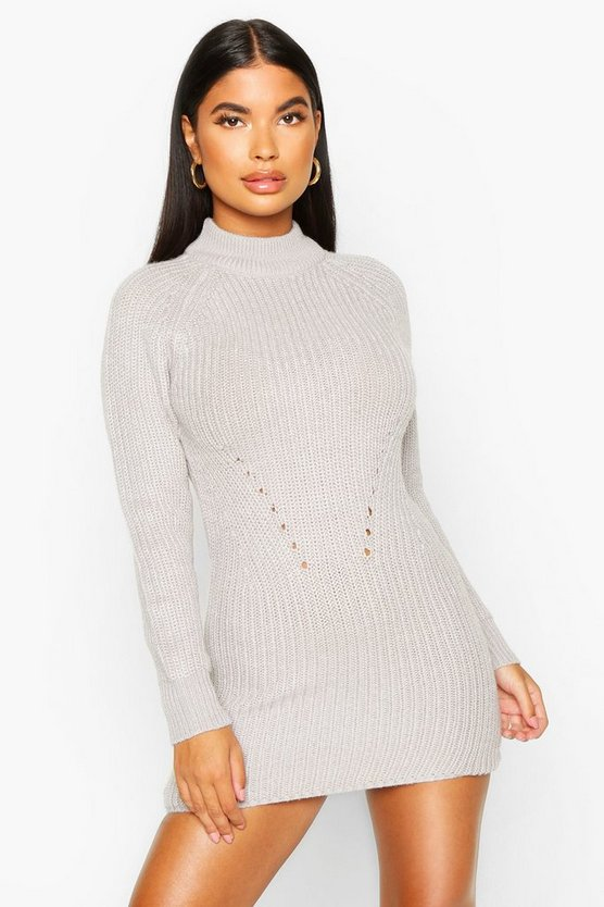 Womens Grey Petite Ribbed Knitted Sweater Dress