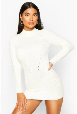 Ivory Petite Ribbed Knitted Jumper Dress