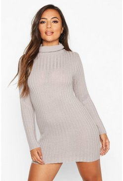 Womens Grey Petite Rib Knit Roll Neck Jumper Dress