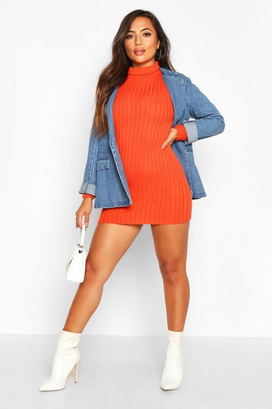 Orange Petite Rib Knit Roll Neck Sweater Dress