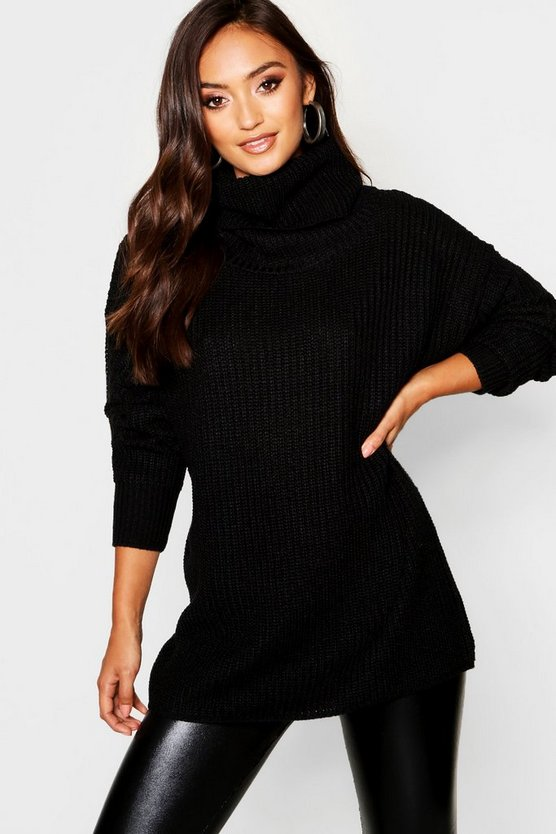 Petite Oversize Chunky Roll Neck Jumper