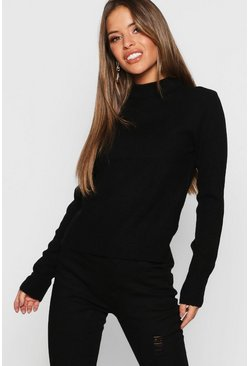 Womens Black Petite Ribbed Roll Neck Jumper