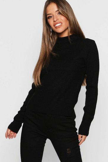 Womens Petite Ribbed Roll Neck Jumper