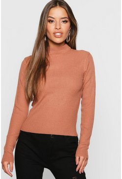 Womens Terracotta Petite Ribbed Roll Neck Jumper