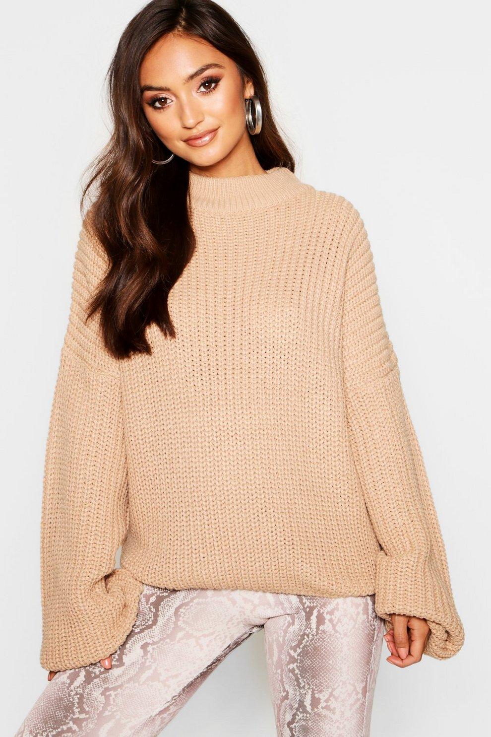 f76cda94e Womens Camel Petite Oversized Bell Sleeve Thick Knit Sweater