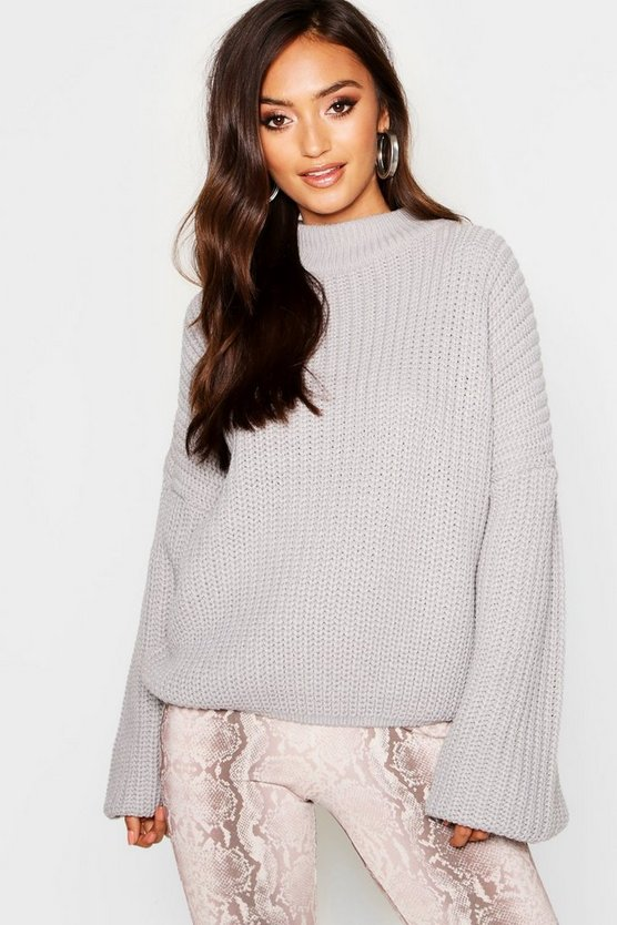 Petite Oversized Bell Sleeve Thick Knit Jumper