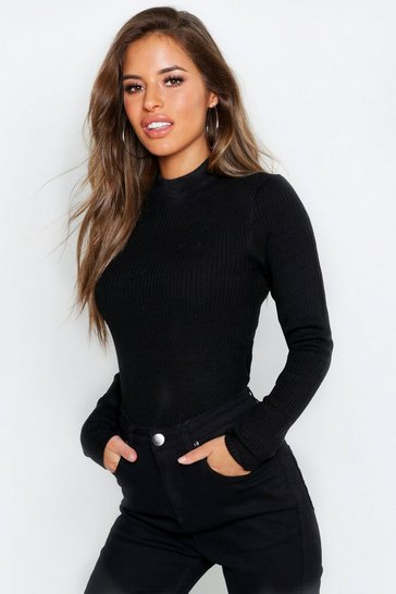 Black Petite Ribbed Knitted High Neck Jumper