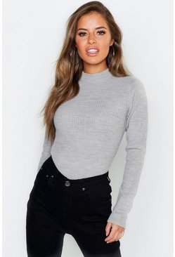 Womens Grey Petite Ribbed Knitted High Neck Jumper