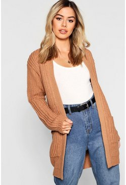 Camel Petite Chunky Knitted Cardigan