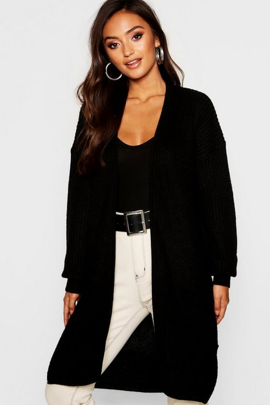 Womens Black Petite Thick Knit Open Cardigan