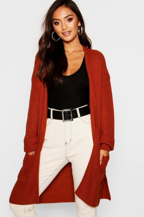 Petite Thick Knit Open Cardigan