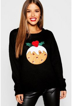Womens Black Petite Christmas Pudding Sweater