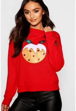Womens Red Petite Christmas Pudding Jumper