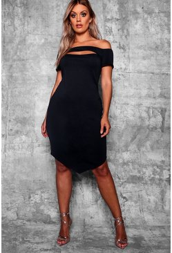 Black Plus Off The Shoulder Bodycon Midi Dress