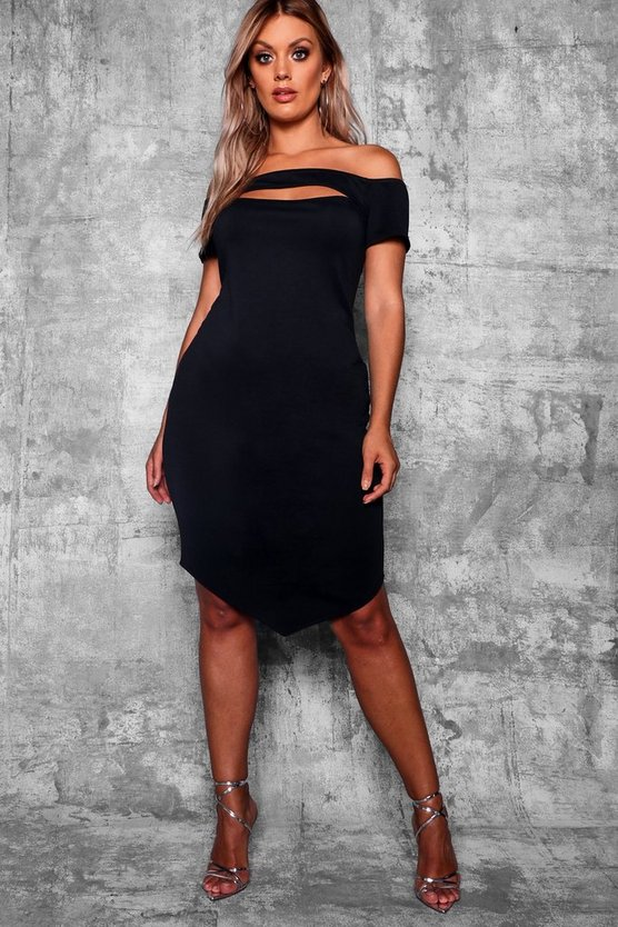 Womens Black Plus Bardot Bodycon Midi Dress
