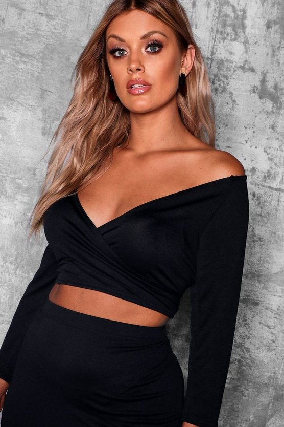 Womens Black Plus Off Shoulder Wrap Top