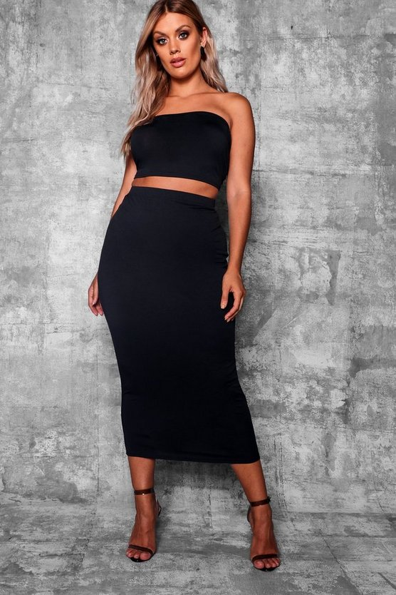 Womens Black Plus Crepe Basic Midi Bodycon Skirt