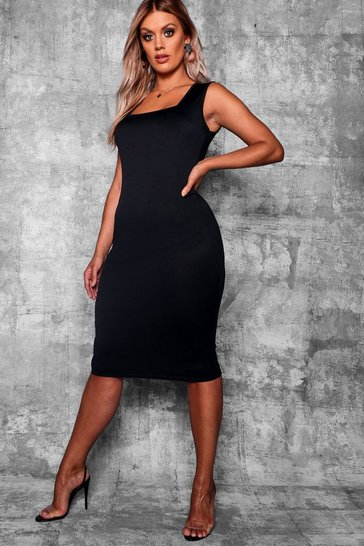 Womens Black Plus Longline Square Neck Midi Dress