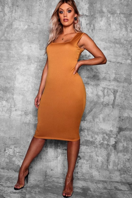 Mustard Plus Longline Square Neck Midi Dress