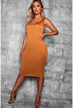 Womens Mustard Plus Longline Square Neck Midi Dress
